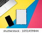 top view office table desk.... | Shutterstock . vector #1051459844