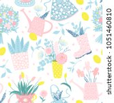 vector seamless spring pattern... | Shutterstock .eps vector #1051460810