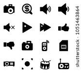 solid vector icon set   camera... | Shutterstock .eps vector #1051463864