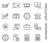 thin line icon set   cash... | Shutterstock .eps vector #1051472360