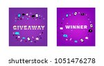 giveaway and winner cards set.  ... | Shutterstock .eps vector #1051476278