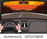 car on the road  a view from... | Shutterstock . vector #1051478009