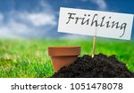 a terracotta plant pot with... | Shutterstock . vector #1051478078
