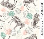 seamless zebra pattern and... | Shutterstock .eps vector #1051482488