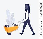 farm woman in working uniform... | Shutterstock .eps vector #1051486508