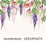 beautiful  vector floral summer ... | Shutterstock .eps vector #1051491674