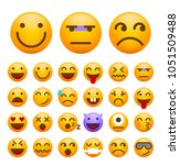 set of cute emoticons on white... | Shutterstock .eps vector #1051509488