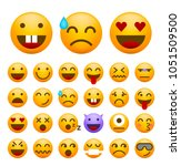 set of cute emoticons on white... | Shutterstock .eps vector #1051509500