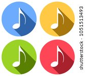 music note icon. set of white...