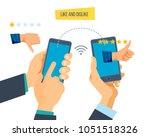 like and dislike in mobile app. ... | Shutterstock .eps vector #1051518326