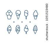 vector set of outline ice cream....   Shutterstock .eps vector #1051523480