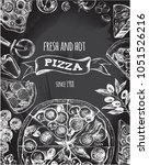background with round pizza ... | Shutterstock .eps vector #1051526216