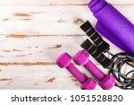 ladies sports accessories such... | Shutterstock . vector #1051528820