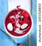 fruit summer cold soup with... | Shutterstock . vector #1051528853