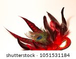 Small photo of Cropped image of red glitter fancy dress mask adorned with peacock and pheasant feathers against a plain white background