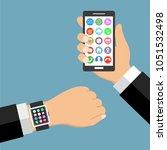smart watch smartphone with... | Shutterstock . vector #1051532498