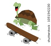 happy smiling turtle running... | Shutterstock .eps vector #1051542230