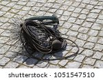 chimney sweep tools  round wire ... | Shutterstock . vector #1051547510