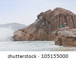 Woman at Anse Patates, La Digue, Seychelles, Africa - stock photo