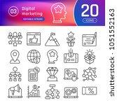 digital marketing line icons...   Shutterstock . vector #1051552163
