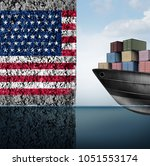 american trade barrier and...   Shutterstock . vector #1051553174
