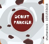 donuts with glaze. card bright... | Shutterstock .eps vector #1051553618