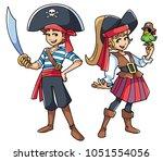 full length illustration of two ...   Shutterstock .eps vector #1051554056