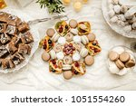 candy bar with macarons  cakes  ... | Shutterstock . vector #1051554260