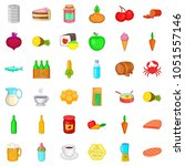 eating icons set. cartoon style ... | Shutterstock . vector #1051557146