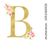 gold monogram letters with... | Shutterstock . vector #1051560920