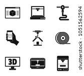 3d computer printer icon set....