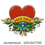 tattoo heart pierced with arrow.... | Shutterstock .eps vector #1051567730