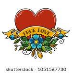 tattoo heart pierced with arrow.... | Shutterstock .eps vector #1051567730