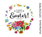 template of happy easter card.... | Shutterstock .eps vector #1051567850