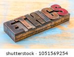 ethics word abstract in vintage ... | Shutterstock . vector #1051569254