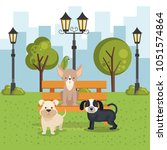 cute dogs in the park scene | Shutterstock .eps vector #1051574864