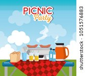 picnic party celebration scene | Shutterstock .eps vector #1051576883