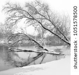 winter landscape. river with... | Shutterstock . vector #1051578500