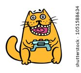 Stock vector cat keeps the joystick from the console cute emoticon character cheerful pet cool video gamer 1051588634
