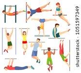 athlete on horizontal bar... | Shutterstock .eps vector #1051597349