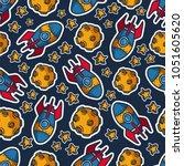 kids seamless pattern   space ... | Shutterstock .eps vector #1051605620