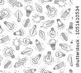 sketch light bulb idea symbols...   Shutterstock .eps vector #1051610534