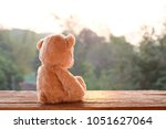 teddy bear toy alone on wood | Shutterstock . vector #1051627064