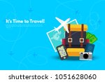 it s time to travel.trip to... | Shutterstock .eps vector #1051628060