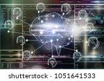 polygonal brain shape of an... | Shutterstock . vector #1051641533