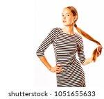 young pretty woman in elegant... | Shutterstock . vector #1051655633