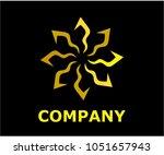 gold color royal lotus flower... | Shutterstock .eps vector #1051657943