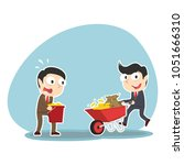 businessman pushing wheelbarrow ... | Shutterstock .eps vector #1051666310