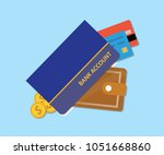 bank accounts book with wallet... | Shutterstock .eps vector #1051668860