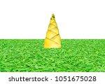 bamboo shoots on green grass... | Shutterstock . vector #1051675028